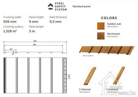 Steel Soffit burkolólemez, egyoldalon színbevonattal
