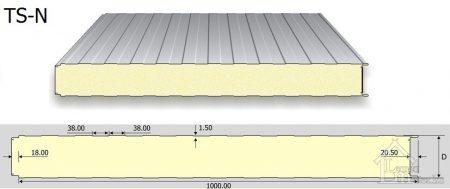 TS-N/R falpanel PUR (látszó rögz.) RAL 9002
