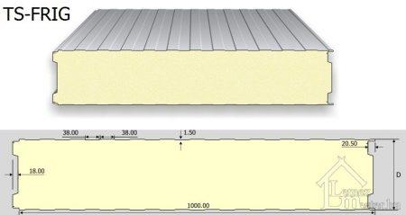 TS-FRIG hűtőházi panel PUR, PIR (látszó rögzítésű)